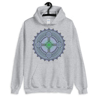 Black Outline Cross Blue Green Star Unisex Hoodie Abyssinian Kiosk Ethiopian Coptic Orthodox Tewahedo Christian Gildan Original Art Fashion Cotton Apparel Clothing