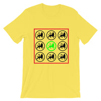 Black and Lime Lions Unisex T-Shirt Ethiopian Lion of Judah Abyssinian Kiosk Abyssinia Ethiopia