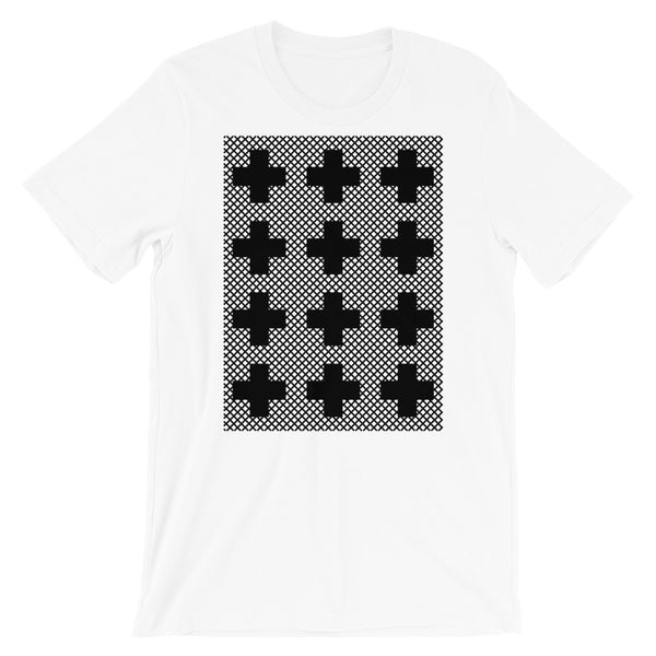 Criss Cross Black Unisex T-Shirt Abyssinian Kiosk 12 Small Equal Arm Crosses Christian Bella Canvas Original Art Fashion Cotton Apparel Clothing