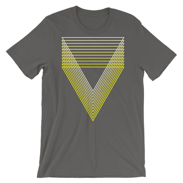 Yellow Chiaroscuro Triangles Unisex T-Shirt From Light to Bold Color Abyssinian Kiosk Fashion Cotton Apparel Clothing Bella Canvas Original Art