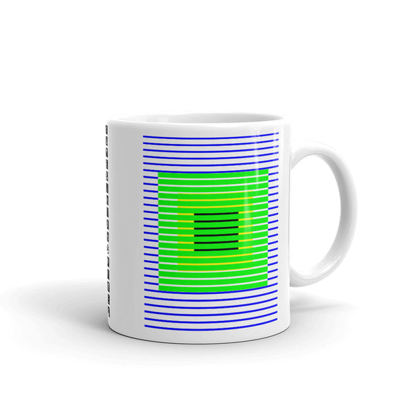 Blue Green Stripes Yellow Black Squares Kaffa Mug