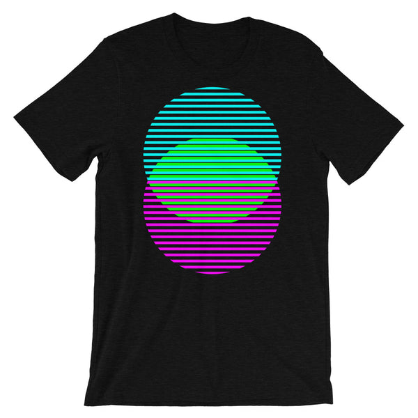 Cyan Green Magenta Lined Circles Unisex T-Shirt Abyssinian Kiosk Joining Circles Fashion Cotton Apparel Clothing Bella Canvas Original Art