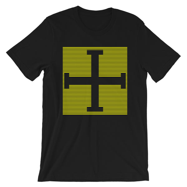 Yellow Lines Empty + Cross Unisex T-Shirt Abyssinian Kiosk Equal Arm Cross Christian Lines Bella Canvas Original Art Fashion Cotton Apparel Clothing