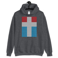 White Cross Red Blue Lines Unisex Hoodie Abyssinian Kiosk Christian Jesus Religion Lined Latin Cross Gildan Original Art Fashion Cotton Apparel Clothing