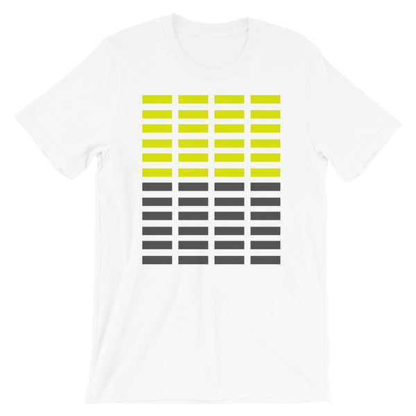 Dark Yellow & Grey Grid Bars Unisex T-Shirt Abyssinian Kiosk Rectangle Bars Spaced Evenly Grid Pattern Fashion Cotton Apparel Clothing Bella Canvas Original Art