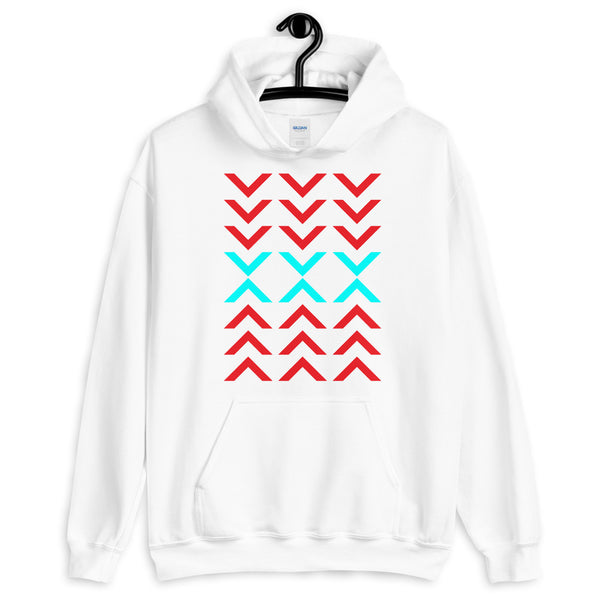 Arrows Down Up Red Cyan Unisex Hoodie Abyssinian Kiosk Fashion Cotton Apparel Clothing Gildan Original Art
