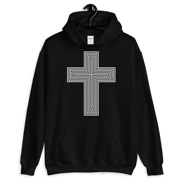 White & Empty Maze Cross Unisex Hoodie Abyssinian Kiosk Christian Jesus Religion Lined Latin Cross Gildan Original Art Fashion Cotton Apparel Clothing