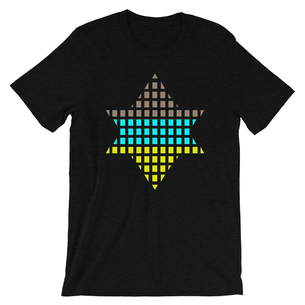 Brown, Cyan, Yellow Lime Boxes Star of David Unisex T-Shirt Abyssinian Kiosk Rectangles Jewish Falasha Abyssinia Ethiopia Bella Canvas Original Art Fashion Cotton Apparel Clothing
