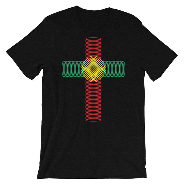 Green Yellow Red Ellipse Cross Unisex T-Shirt Abyssinian Kiosk Christian Jesus Religion Cross Bella Canvas Original Art Fashion Cotton Apparel Clothing