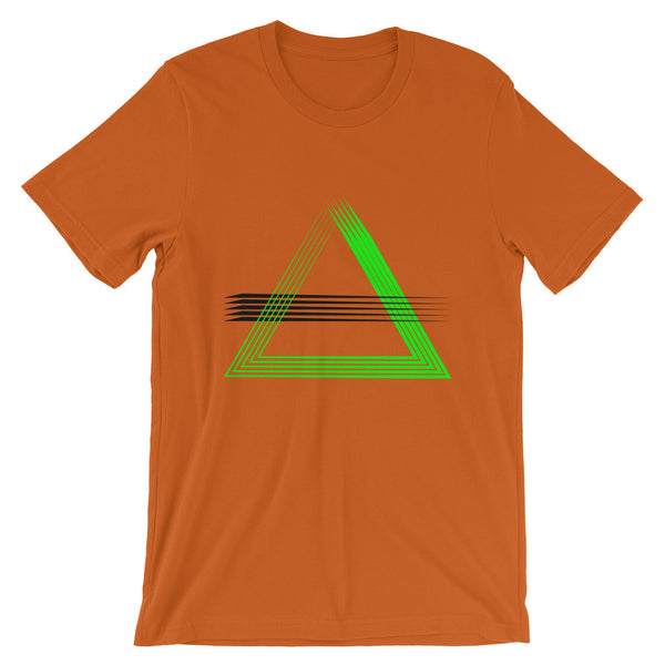 Green Triangles & Black Strikes Unisex T-Shirt Abyssinian Kiosk Fashion Cotton Apparel Clothing Bella Canvas Original Art