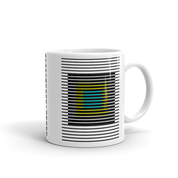 Black Stripes Yellow Cyan Squares Kaffa Mug