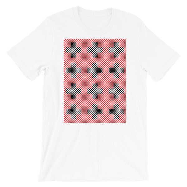 Criss Cross Red Black Unisex T-Shirt Abyssinian Kiosk 12 Small Equal Arm Crosses Christian Bella Canvas Original Art Fashion Cotton Apparel Clothing