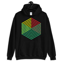 Green Yellow Red Cube Illusion Unisex Hoodie Abyssinian Kiosk 3D Bars Polygon Fashion Cotton Apparel Clothing Gildan Original Art