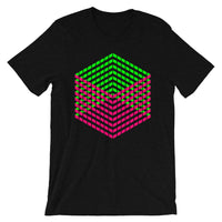 Pink Green Cube Illusion Unisex T-Shirt Abyssinian Kiosk 3D Bars Polygon Fashion Cotton Apparel Clothing Bella Canvas Original Art