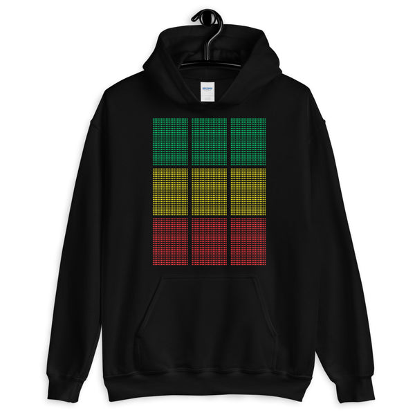 Green Yellow Red Squares Unisex Hoodie Abyssinian Kiosk Fashion Cotton Apparel Clothing Gildan Original Art