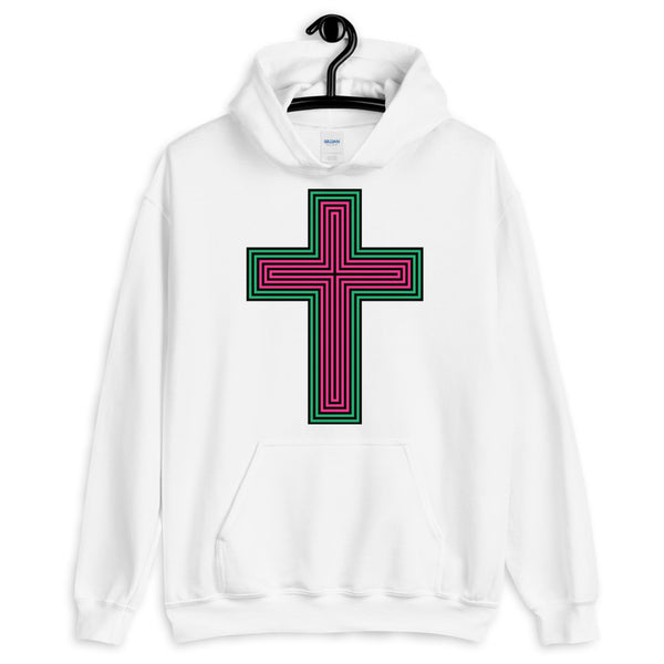 Black Pink Green Maze Cross Unisex Hoodie Abyssinian Kiosk Christian Jesus Religion Lined Latin Cross Gildan Original Art Fashion Cotton Apparel Clothing