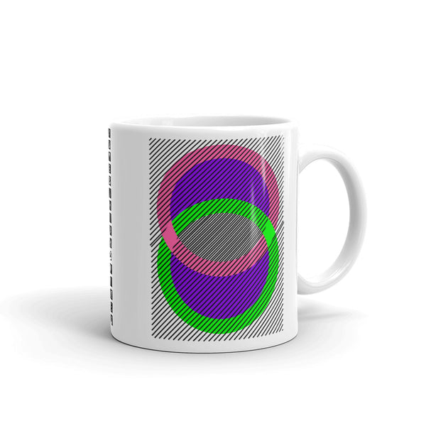 Pink Green Rings Purple Inner & Black Lines Kaffa Mug