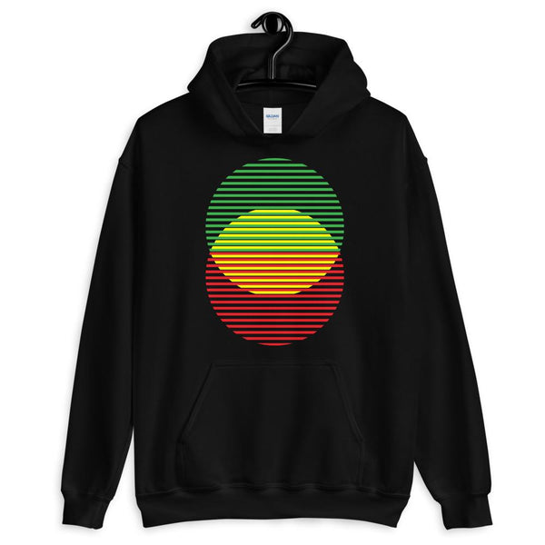 GYR Lined Circles Unisex Hoodie Abyssinian Kiosk Joining Circles Fashion Cotton Apparel Clothing Gildan Original Art Green Yellow Red Ethiopian Flag