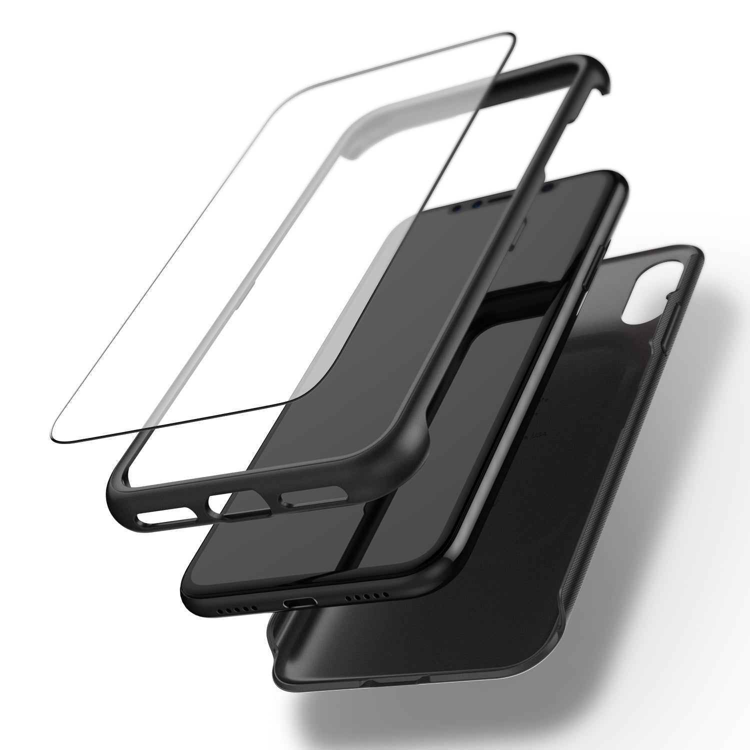 new photos acc17 8e3d7 Caseology iPhone X Nero Slim Series w/ Tempered Glass - Black