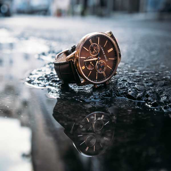 Aries Gold Watches | Rose Gold Case | Brown Dial | Multifunction | Brown Genuine Leather Strap
