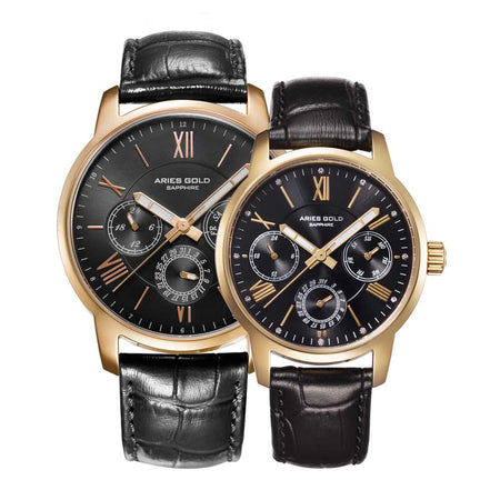 Aries Gold Couple Watch | Gold Case Black Dial Multifunction | Black Strap