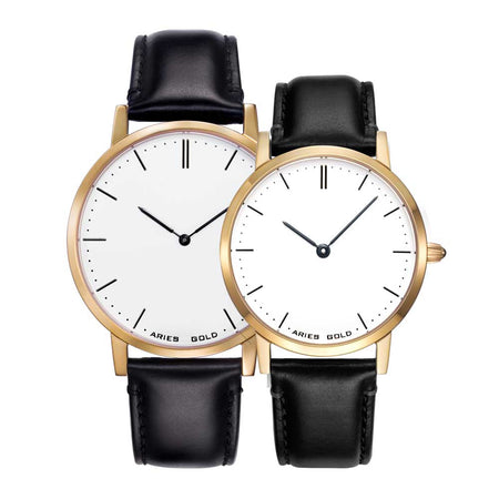 Classic Couple Watch | Gold Case Black Strap