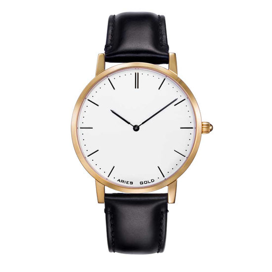 Aries Gold Men | Dapper Gold Case Watch L 1008 S-W | White Dial Black Strap