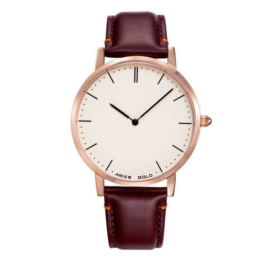 Aries Gold | Rose Gold Men Watch G 1007 RG-BEI | Off-white Dial Brown Strap