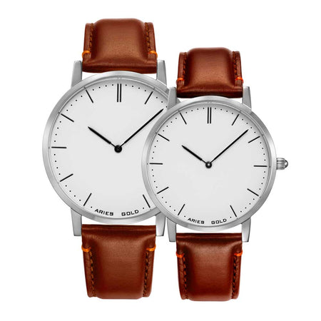 Minimalist Couple Watch | White Dial Brown Strap