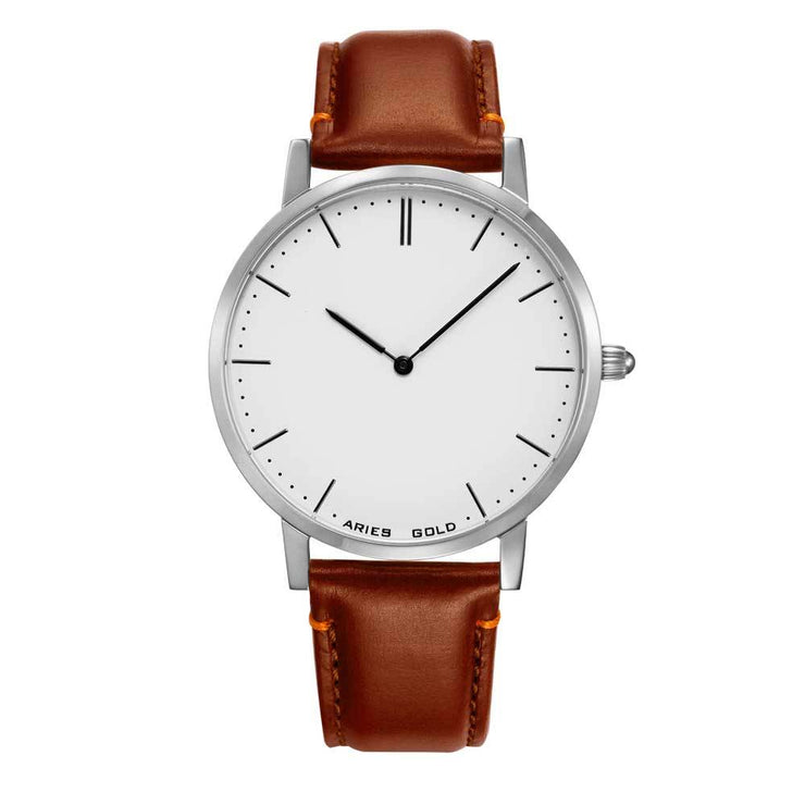 Aries Gold Men |  Silver Watch G 1007 S-W | White Dial Brown Strap