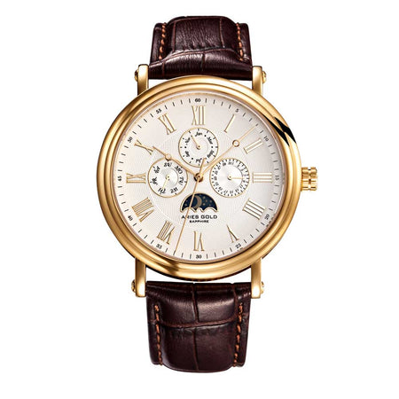Aries Gold | Classic Gold Men Watch G 101 G-W | White Dial Brown Strap