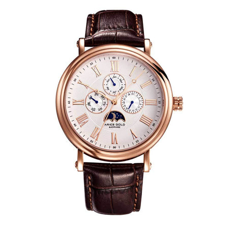 Aries Gold | Classic Rose Gold Men Watch G 101 RG-W | White Dial Brown Strap