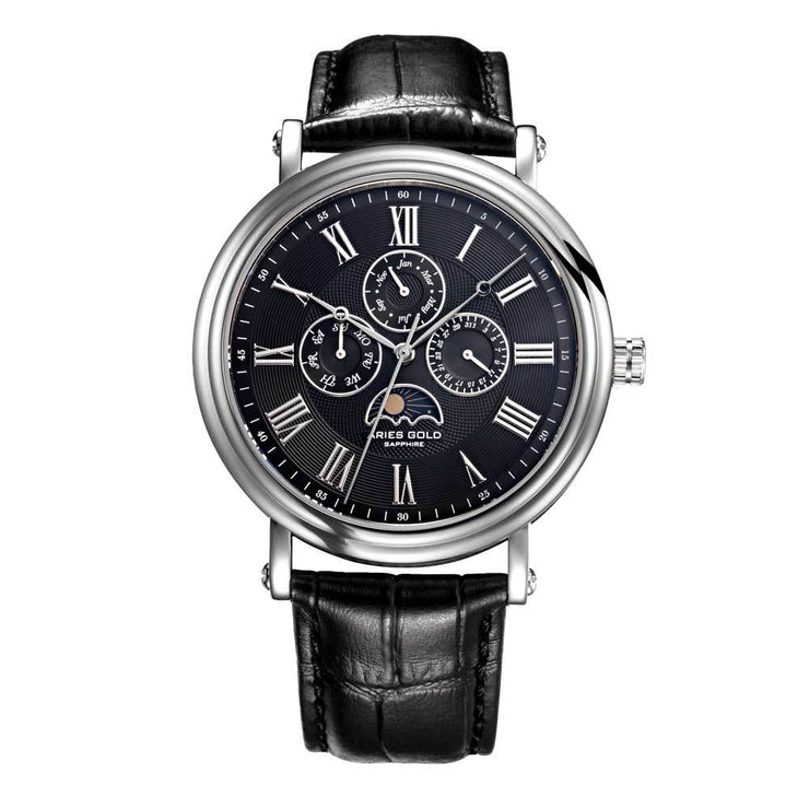 Aries Gold | Classic Silver Men Watch G 101 S-BK | Black Dial Black Strap