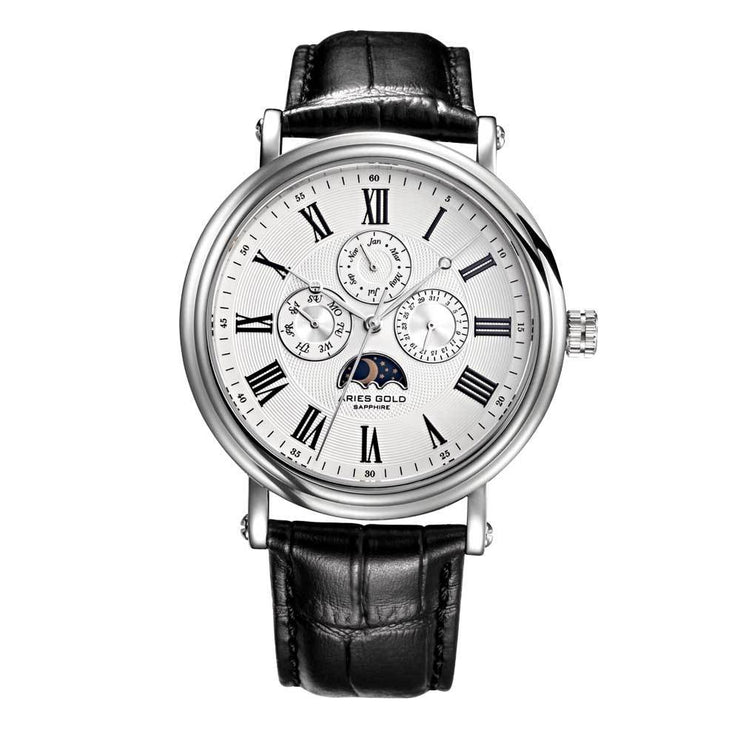Aries Gold | Classic Silver Men Watch G 101 S-W | White Dial Black Strap