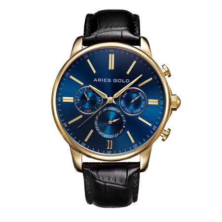 Aries Gold Classic Men Gold Watch | G 102 G-BUG Blue Dial Black Strap