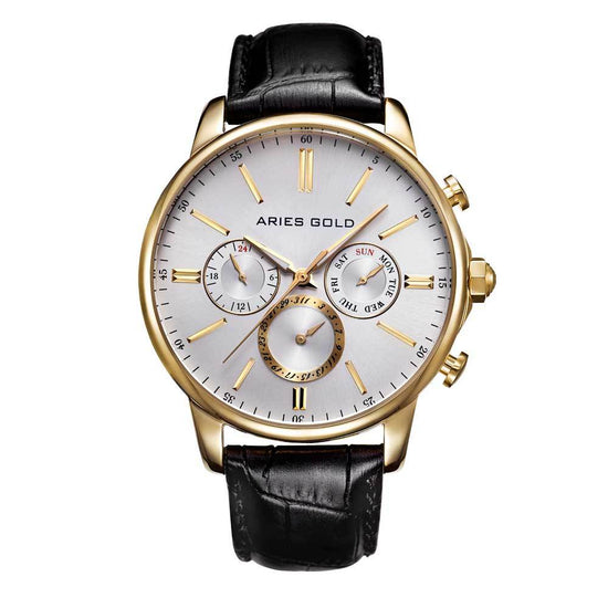 Aries Gold Classic Men Gold Watch | G 102 G-SG Silver Dial Black Strap