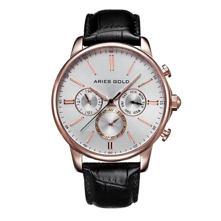 Aries Gold Classic Men Rose Gold Watch | G 102 RG-SRG Silver Dial Black Strap