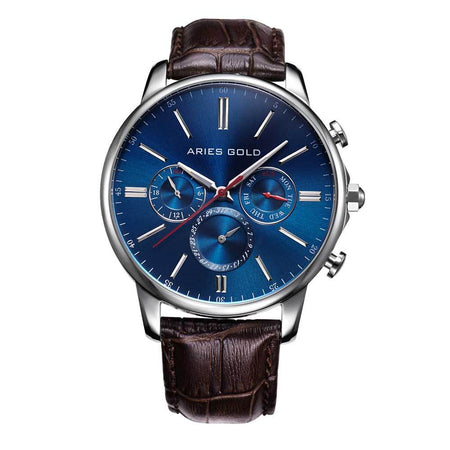 Aries Gold Classic Men Silver Watch | G 102 G-SG Blue Dial Brown Strap