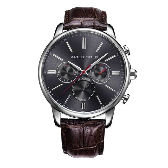 Aries Gold Classic Men Silver Watch | G 102 G-GY Grey Dial Brown Strap