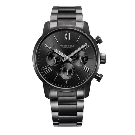 Aries Gold Men Watch | Full Black Multifunction G 103 BK-BK | Stainless Steel Bracelet