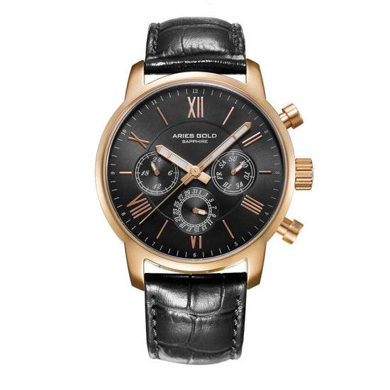 Aries Gold Men Watch | Gold Case Black Dial Multifunction G 103 BK-BK | Black Strap