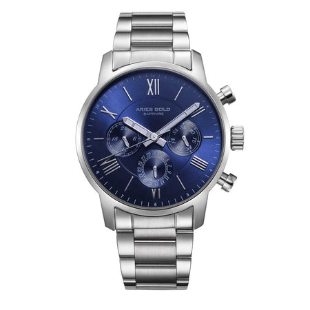 Aries Gold Men Silver Case Blue Dial Multifunction Watch G 103 S-BU | Stainless Steel Strap