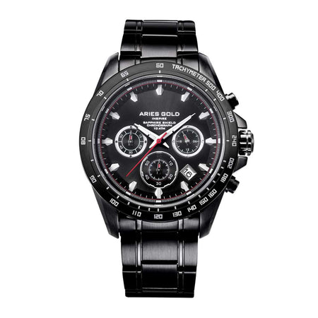 Aries Gold Men Chronograph Date Black Watch G 7001 BK-BK | Stainless Steel Bracelet