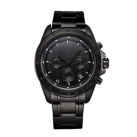 Aries Gold Men Chronograph Date Full Black Watch G 7001 BK-OUT | Stainless Steel Bracelet