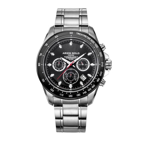 Aries Gold Men Chronograph Date Silver Watch G 7001 SBK-BK | Black Dial Stainless Steel Bracelet