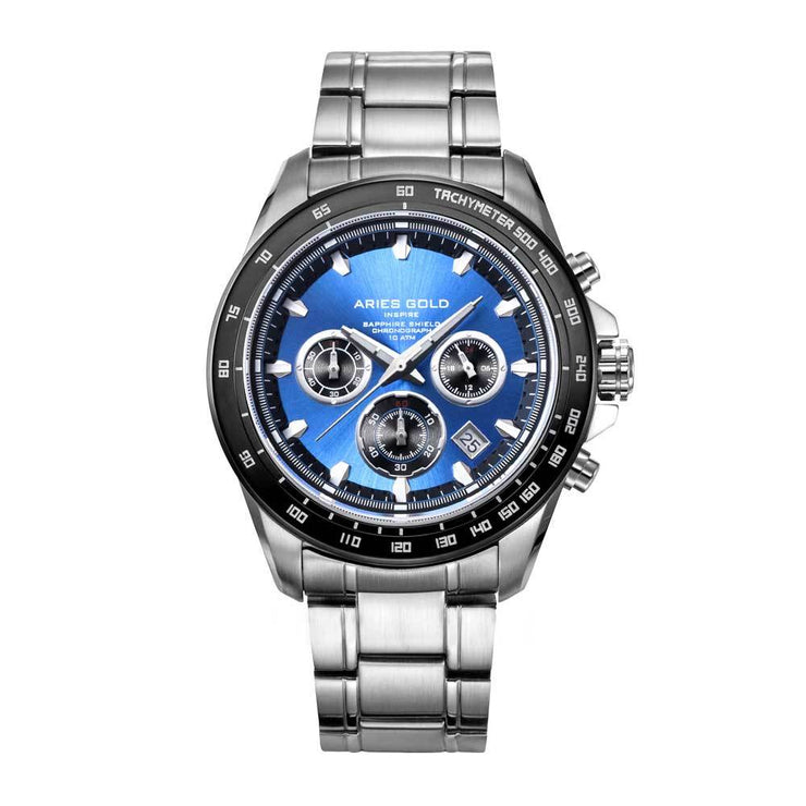 Aries Gold Men Chronograph Date Silver Watch G 7001 SBK-BU | Blue Dial Stainless Steel Bracelet
