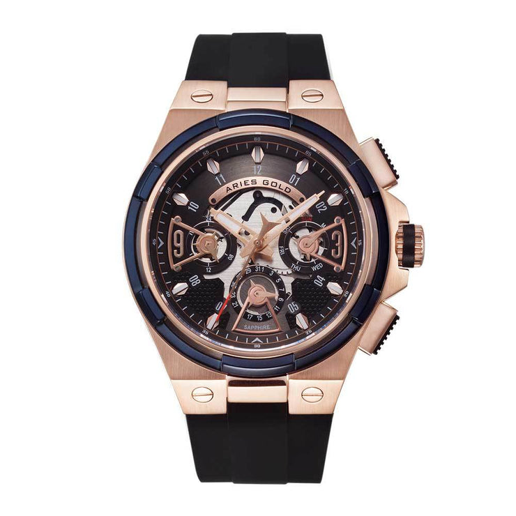 Aries Gold Men Watch | Rose Gold Case Black Skeleton Dial G 7003 2TRB-BKRG