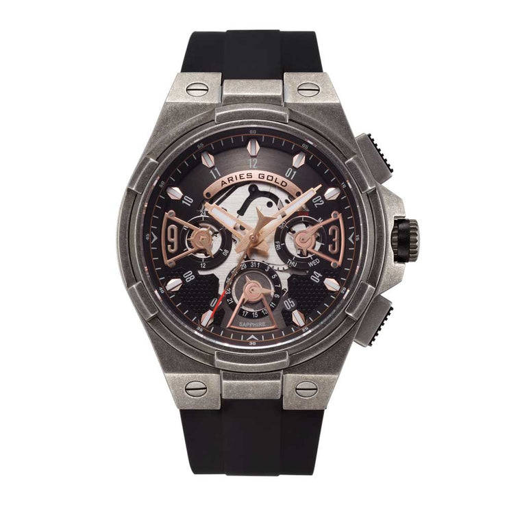 Aries Gold Men Watch | Tungsten Black Skeleton Dial G 7003 AS-BK