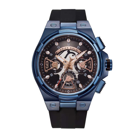 Aries Gold Men Watch | Blue Watch Black Skeleton Dial G 7003 BU-BKRG