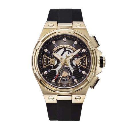 Aries Gold Men Watch | Gold Watch Black Skeleton Dial G 7003 G-BKG